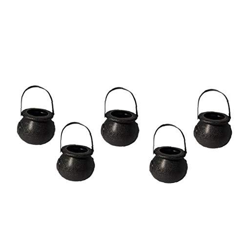 JRXyDfxn 5Pcs Halloween Mini Cauldron Kettles Cups Kids Trick Treat Candy Bucket Toy Party Decoration Supplies Black