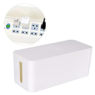 UNIQUEBELLA Cable Tidy, Box for power cable and plug, Cable management, 23.7x11.7x13cm-White