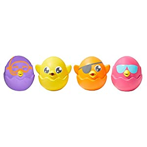 TOMY E72818C Ocultar y chirriar Toomías Huevos Baño, Squirters, Bebé, Juguetes para niños, Multicolor