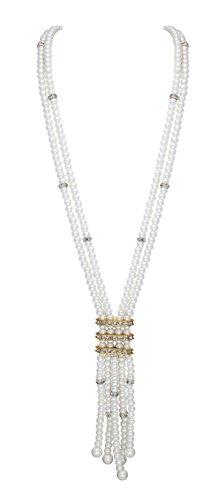 Sempre London-Collana a due fili, con perla, con collana placcata oro 18 kt da donna