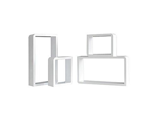 Rebecca mobili set 4 mensole da parete libreria pensile 2 quadrati 2 rettangoli legno bianco stile moderno salotto (cod. re4493)