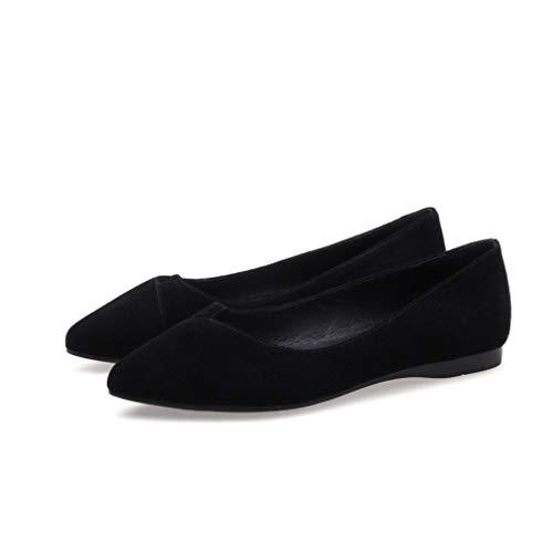 Frauen Flats - Pointed Toe Low Heel Slip auf bequemen Driving Ballet Dress Shoe - Coach Ballet Flats