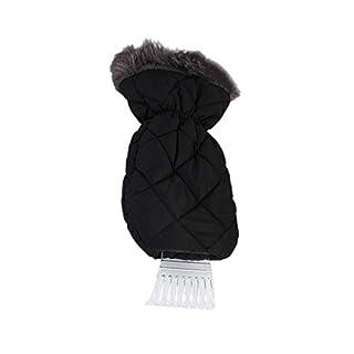 Eiskratzer mit Handschuh,Ice Scraper Glove Eiskratzer-Handschuh Stretch Baumwolle Lange Wollhandschuhe, Schneeschaufel Schaber 1pcs (Schwarz 35 15cm)