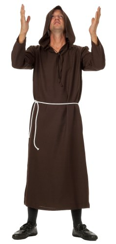 Gewand Kostüm ideal für Mottoparty, Halloween, Karneval und Fasching, Braun, Gr.L/XL (40,42) ()