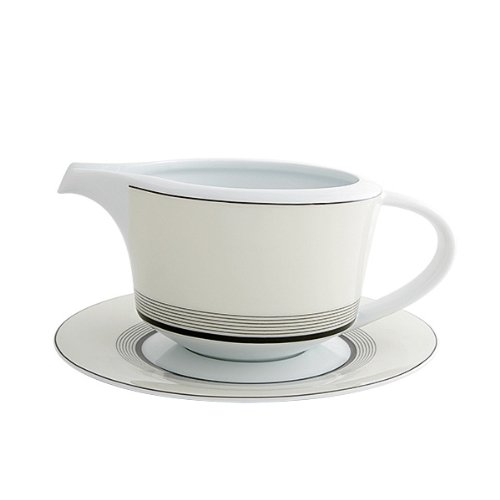 Fairmont & Main Saucière et soucoupe en porcelaine tendre style art déco Noir/blanc