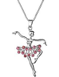 7702a2cb6acc Silver Elements - Collar con colgante con motivo de bailarina ballet en  diamante de cristal para