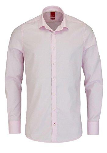 PURE Slim Fit Hemd Langarm ohne Brusttasche New Kent Kragen rosa Größe XL
