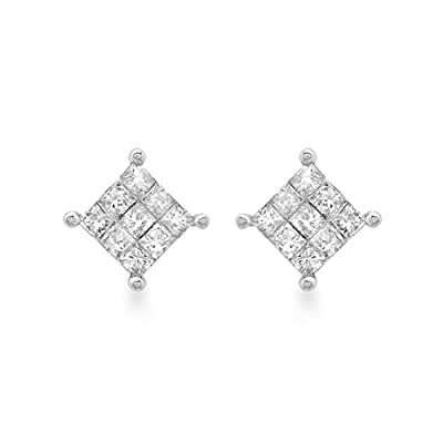 Carissima Gold 9ct White Gold 0.25ct Square Diamond Stud Earrings