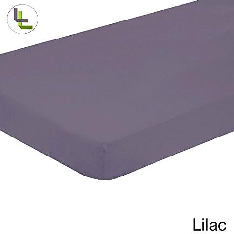 Personnes de haute qualité élégant massif Finition 1drap-housse 100% coton égyptien (poche taille: 68,6cm), Coton, Lilac Solid, Euro_Double_Ikea