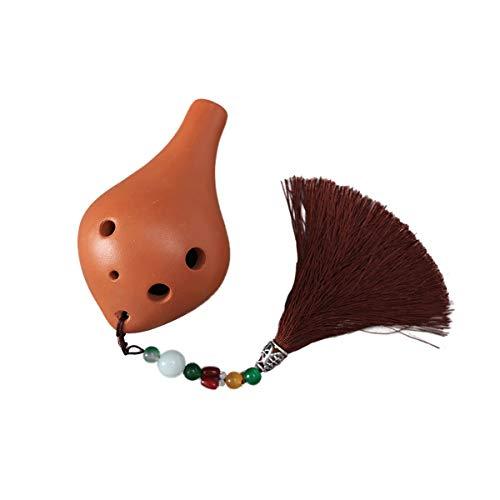 Ocarina Musikinstrument 6-Loch-Anfänger Einführung Instrumental Alto C , Terrakotta Pink Pendant / Terracotta Brown Pendant ( Color : Brown Pendant )