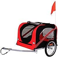 dibea PT10755 Hunde Fahrrad-Anhänger mit Kupplung und Sicherheitsgurten, 2 Farben, rot/schwarz