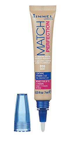Rimmel London Match Perfection 2-in-1 Skin Tone Adapting Concealer & Highlighter, 010 Ivory, 7 ml