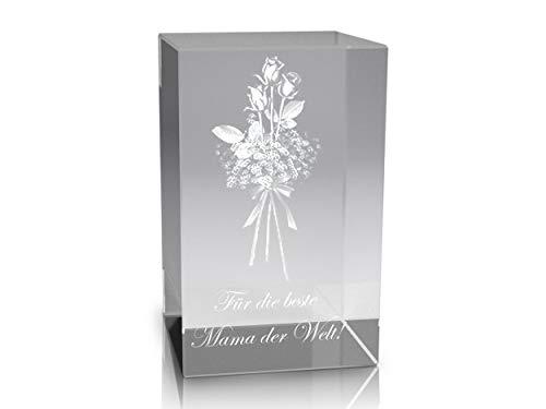 VIP-LASER 3D Glaskristall XL Rosenstrauss mit Text Mama der Welt! graviert