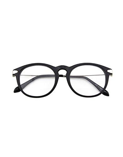 CN88 Klassische Nerdbrille rund Keyhole 40er 50er Jahre Pantobrille Vintage Look clear lens,Matte Schwarz