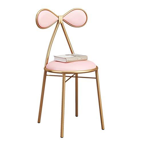 Anyer Bar Stuhl Mode Kaffeestuhl Gold Eisen Make-Up Stuhl Dekoration Lounge Hocker Mit rückenlehne 1 stücke Für Restaurant/Club PU,Pink,40 * 43 * 83CM -