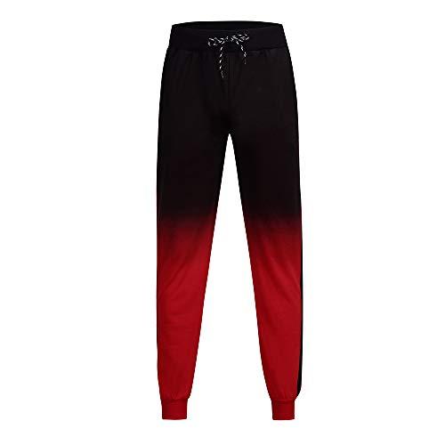 Pantalone Uomo Pantaloncini Jeans/Cravatta con Coulisse in Vita Casual Moda Uomo con Gambe a Trave Multitasche Pantaloni Sportivi da Jogging/Rosso/M-3XL
