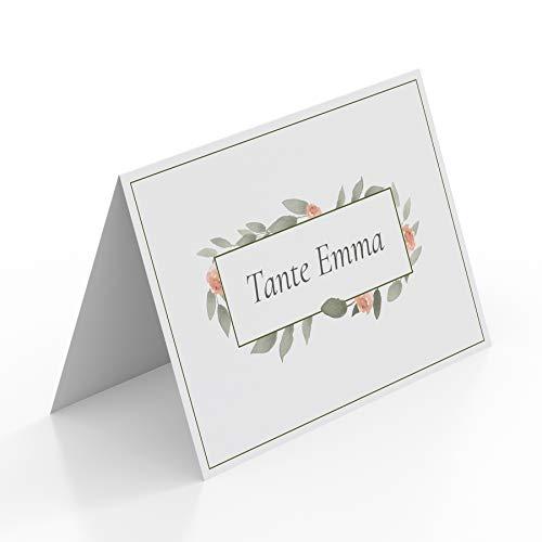 (20 x) Tischkarten Hochzeit Platzkarten Namenskarten Geburtstag Wasserfarben Karten