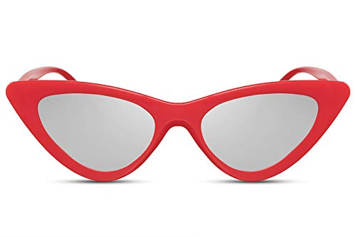 Cheapass Sonnenbrille Cat-Eye Rot Silber-n Verspiegelt Katzenauge Schmal Designer-Brille Plastik Damen