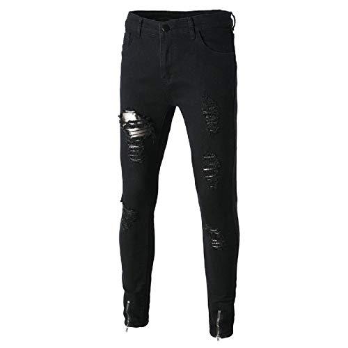 Barlingrock Stretchy Jeans für Herren, Destroyed, Slim Fit Denim-Hosen, Klassische Bootcut-Jeans, schlanke, gerade geschnittene Biker-Jeans mit Reißverschluss-Deko (Pants Bootcut-knit)