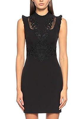 Karen Millen Black Floral Lace Frill Mini Occasion Party Dress 10 38 DB171