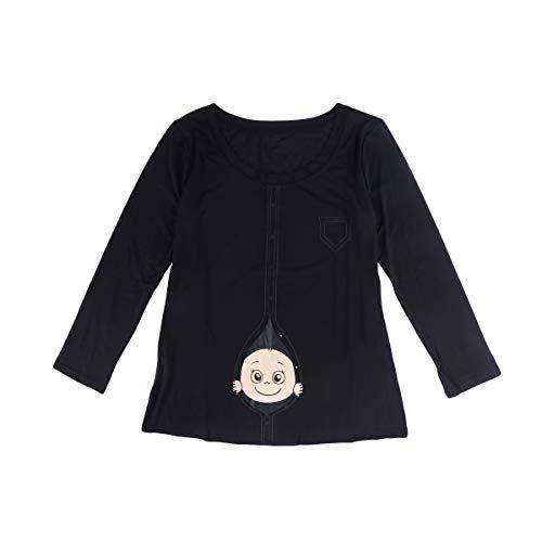 BESTOYARD Frauen T-Shirt Mode Frühling Sommer Große Größe Schwangere Frauen Langarm Lustige Cartoon Baby Staring Mutterschaft Bluse Größe 5XL (Schwarz) - Lustig Mutterschaft T-shirts