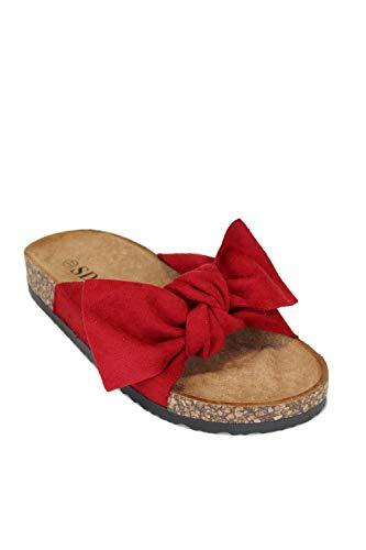 irisaa Bunte Pantoletten Sandalen mit Schleifen oder Blumen zum Sommer, 2019 Patoletten Farbe (1):Red, Schuhgröße 36-41:36