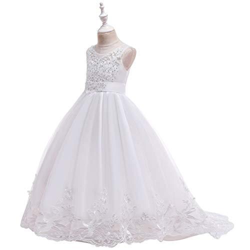 FENICAL langes schleppendes Spitzenkleid gestickte Blume Prinzessin Tutu Kleid Halloween Weihnachten Hochzeit Prinzessin Cosplay Fotografie Requisiten für mädchen in der höhe von 150 cm weiß -