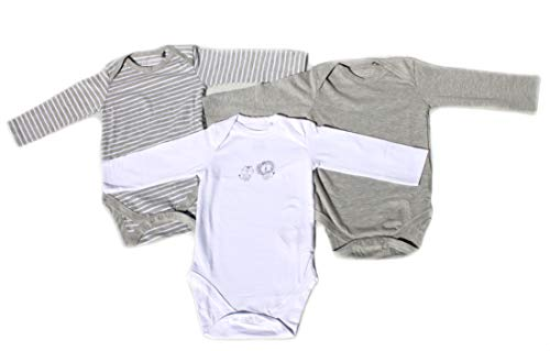 Ventilkappenkönig Baby Bio Baumwolle Body Pyjama Strampler Kleinkind Neugeborene 1er 2er 3er Sets für 0-24 Monate (3er Body Grau Weiß Lang, 74-80)