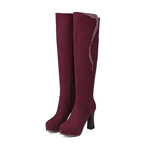 VogueZone009 Damen Hoher Absatz Eingelegt Reißverschluss Stiefel mit Beschlagene Strass Weinrot