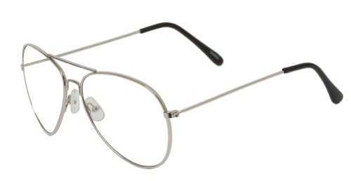 summerland qlook New non-prescription Premium Aviator CLEAR LENS Glasses-(3Frame Colors Available), Silver