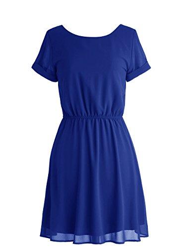 Dressystar Robe de soirée/bal courte avec Manche Courtes en mousseline Bleu Saphir