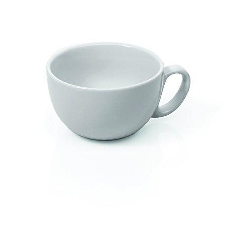 2 dickwandige große Cappuccinotassen aus weißem Porzellan 0,28l mit Untertasse
