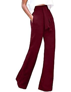 Mupoduvos Mujer Casual Solid Cintura Alta Pantalones Palazzo con Cinturón Suelto Fiesta De Oficina