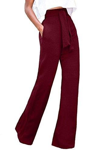 La Mujer Casual Solid Cintura Alta Pantalones Palazzo con Cinturón Suelto  Fiesta De Oficina Winered M 934b7fe69103
