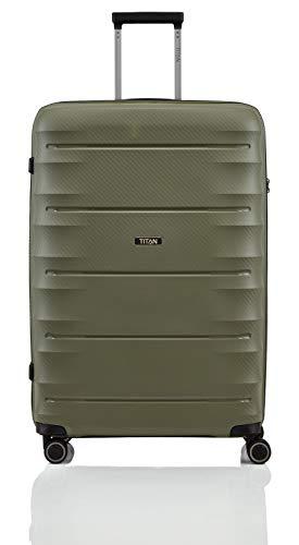 """TITAN Super Leichter Hartschalenkoffer \""""Highlight\"""" in 4 Größen im Carbon Look, Handgepäck mit Vortasche Koffer, 75 cm, 107 Liter, Khaki"""
