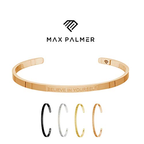Max Palmer | Armband/Armreif mit Spruch - Gravur Believe IN Yourself [03.] - Rosegold