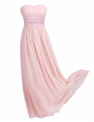 Freebily Damen Kleider Bandeau Kleid Maxi Kleider trgerlose Abendkleider Ballkleid Cocktailkleid Hochzeit Brautjungfer Keid lang in Gr. EU 36-46, Perle Rosa, EU 44 (Herstellergre: 14)