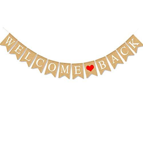 Hause Banner, 2,8 Meter Vintage Sackleinen Girlande Banner Bunting mit Herz für Baby Shower Family Party militärische Heimkehr Dekoration Lieferungen ()