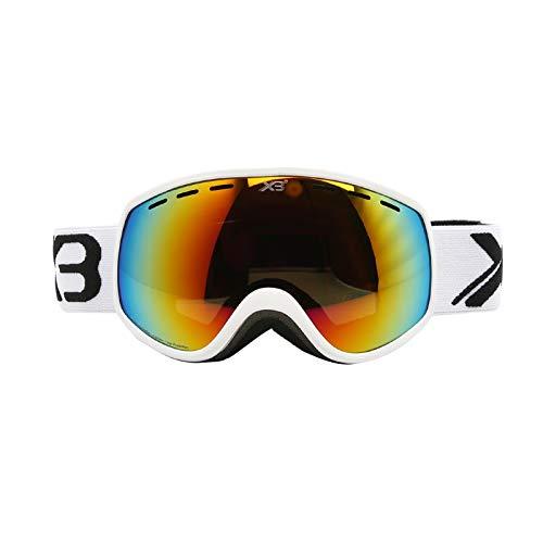 AmDxD Kinder TPU Snowboardbrille Zweilagige Anti-Fog PC Objektiv UV-Schutz Schutzbrillen Gelb