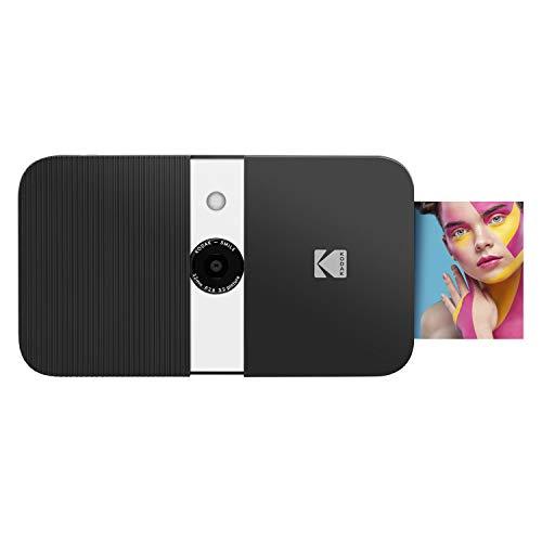KODAK Smile Digitale Sofortbildkamera mit Drucker - Kamera mit Schiebeöffnung, 10MP und 2x3 Zink Drucker, Display, Fixfokus, Auto Flash & Fotobearbeitung - Schwarz/Weiss