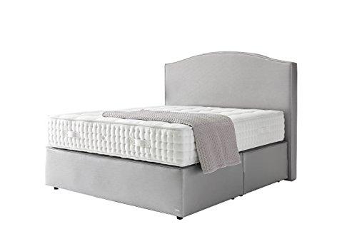 Haskins-Betten Emirat Boxspringbett, Leder, Grau, 200 x 200 x 180 cm