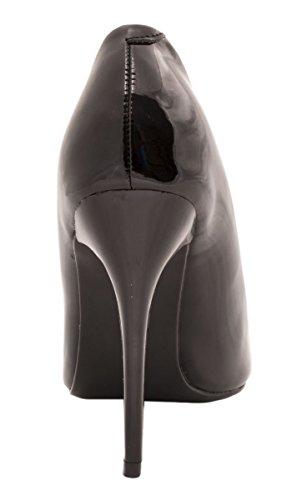 Elara Spitze Damen Pumps | Bequeme Lack Stilettos | Elegante High Heels Schwarz Pearl