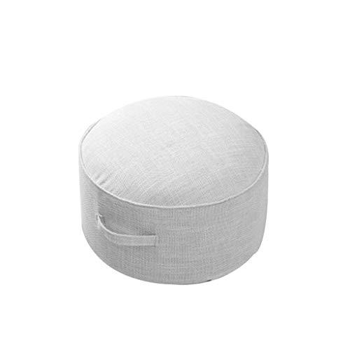 Runde Patio Kissen (ZIJUAN Boden Kissen Kissen Patio Bay Fenster Pad Runde Futon Auto Kissen BüRostuhl Yoga Druckentlastung Pad (Farbe : Weiß))