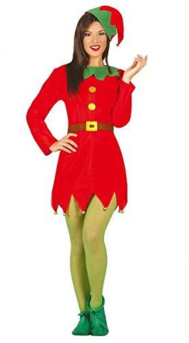 Guirca Costume Elfo Donna Adulta Elfa Taglia M, Colore Rosso e Verde