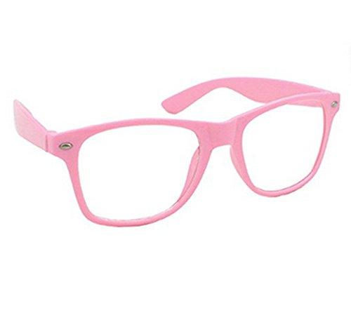 Nerd Brille , Ishua Damen und Herren Glasbrille Vintage 80er Jahre Geek Brille Dekoration (Rosa)