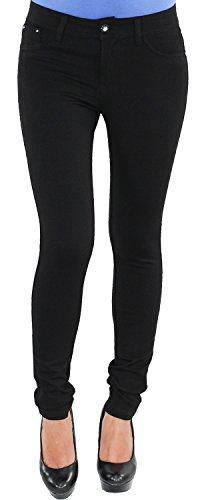 Damen Legging Leggins Jeggins Jeggings Tregging Stoff Hüft Röhren Hose bis Übergröße XXXXL Schwarz F100-H01 M/38