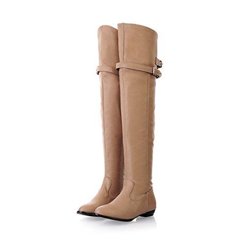 Natale Stivali di Stivali basso Con e QXregalo ginocchio scarpe ZQ Beige tacco q14TTx