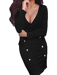 Rawdah- Vestito Donna Estivo Corto Vestiti da Donna Cerimonia Scamiciato Sexy in profondità V Bodycon Vestito Lungo Manica Solido Sera Festa Mini Vestito