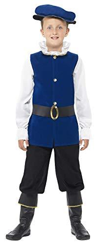Smiffys Kinder Tudor Junge Kostüm, Oberteil, Hose mit Überstiefeln, Gürtel und Mütze, Größe: M, 41092