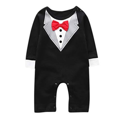 DAY8 Vêtement Bébé Garçon Naissance 6-24 Mois Pyjama Bébé Garçon Hiver Body Combinaison Bébé Garçon Manche Longue Manteau Bébé Fille Jumpsuit Barboteuse Grenouillère Combi (95(18-24 Mois), Noir)